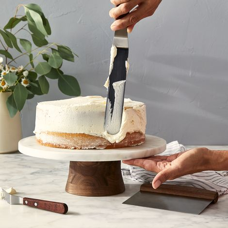 Marble & Walnut Rotating Cake Stand