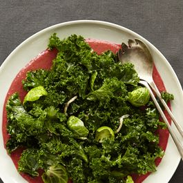 Kale Salad with Brussels Sprout Leaves and Lemon Vinaigrette