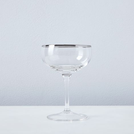 Metallic Rimmed Champagne Coupes (Set of 6)