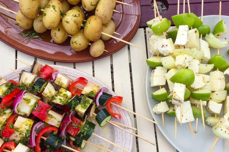 Halloumi and Apple Skewers