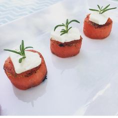 Grilled Watermelon Goat Cheese Bites