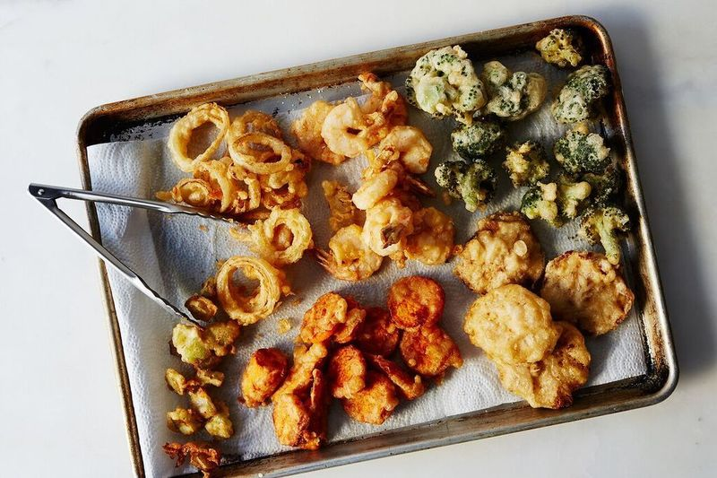 You can tempura broccoli stems and florets, onion rings, shrimp, mushrooms, sweet potatoes!