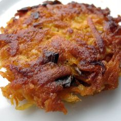 Sweet Potato Parsnip Latkes with Feta and Leeks