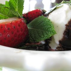 Strawberries and Ice Cream with Mint and Balsamic