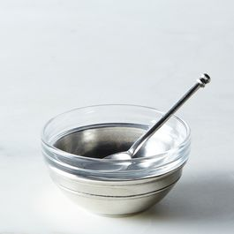 Glass & Pewter Condiment Dish