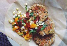 Sweet Onion & Corn Quinoa Fritters with Fresh Corn & Basil Salad