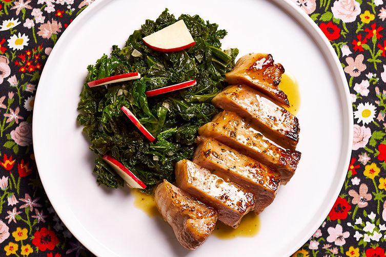 Cider Pork Chops with Kale