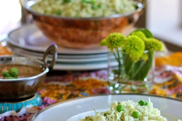Green rice pulao