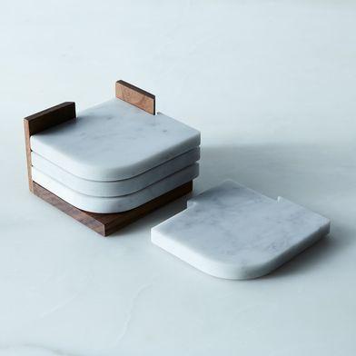 Carrara Marble & Walnut Join Coasters