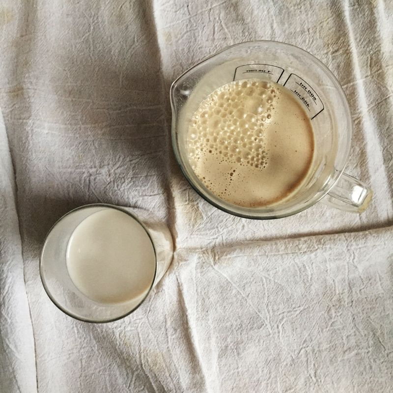Store-bought almond milk (left) versus the almond butter version (right).