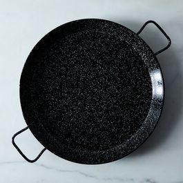 """Black Speckled Enameled Steel Paella Pan, 17"""""""