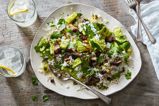 Rice Salad With Portobellos, Smashed Cucumbers & Salsa Verde