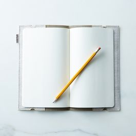 Lined Linen Notebook With Pencil