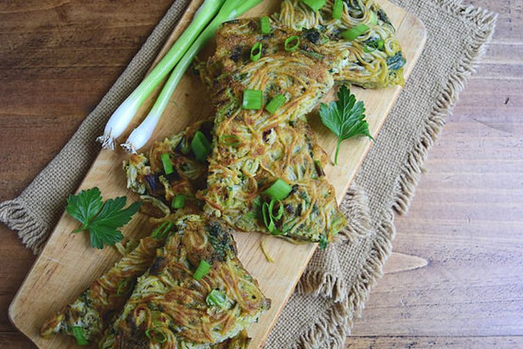 Savory Green Onion Noodle Cake