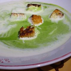 Spring Pea Soup, Garlic Croutons, Lemongrass Cream