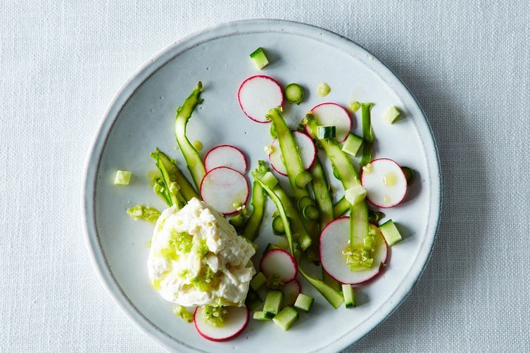 Shaved Asparagus with Burrata, Radish & Cucumber