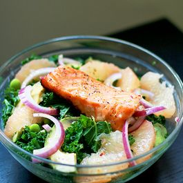 Kale, Grapefruit, and Edamame Salad with Salmon