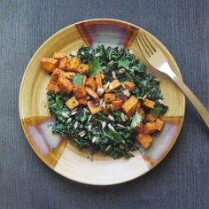 Roasted Sweet potato with Tahini kale slaw