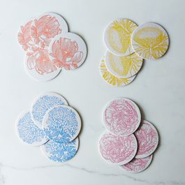 Floral Letterpress Coaster (Set of 16)