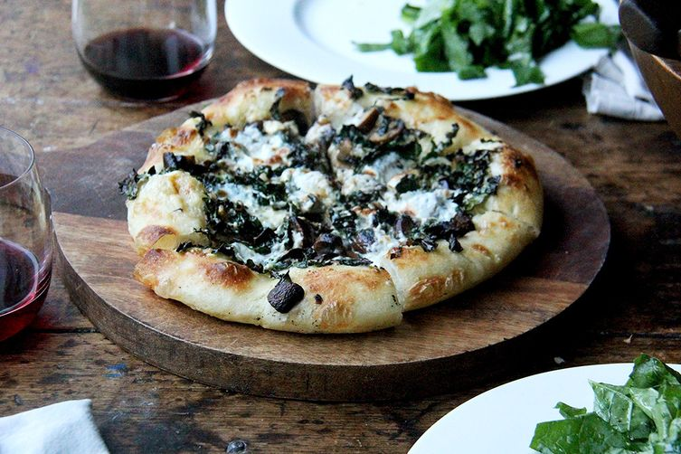 Grown-ups' Skillet Pizza: Crème Fraîche, Kale, Mushroom and Mozzarella