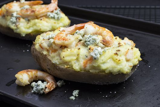 Twice Baked Potato Stuffed With Shrimp And Blue Cheese