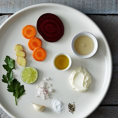 Roasted Beet and Carrot Soup with Parsley Lime Cream