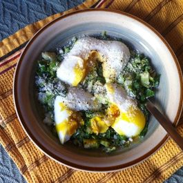 Simple garden hash with poached eggs.