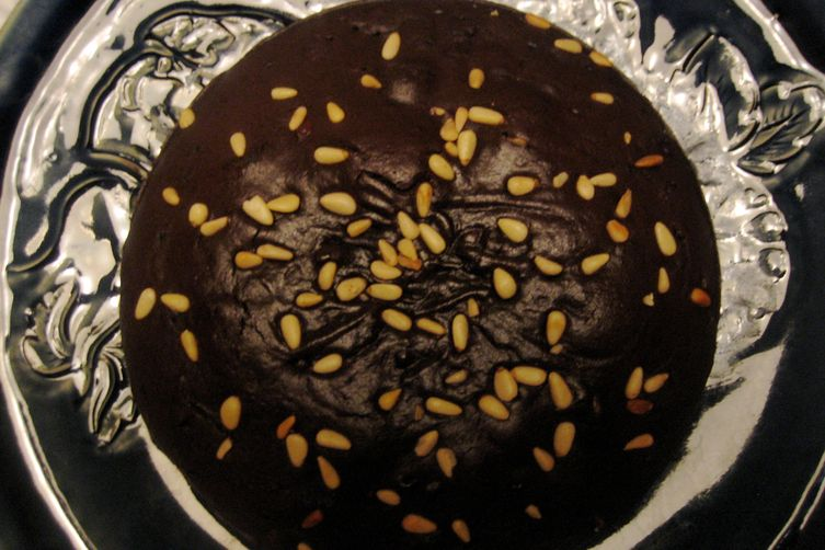 Chocolate Olive Oil Cake with Pine Nuts