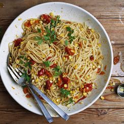 Pasta with Summer Corn, Slow-Cooked Tomatoes, and Garlic Confit