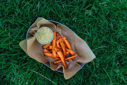 Harissa Fries with Cilantro Jalapeño Hummus
