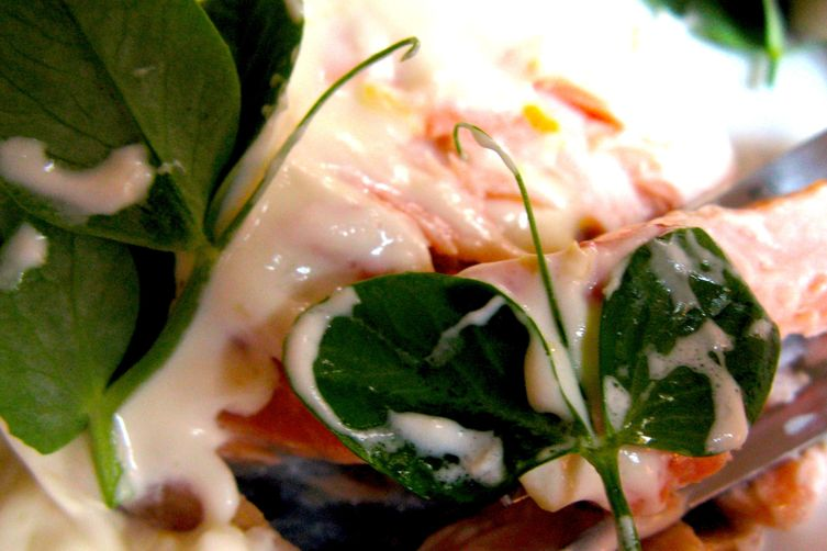 Salmon with Lemon Cream and Pea Shoots