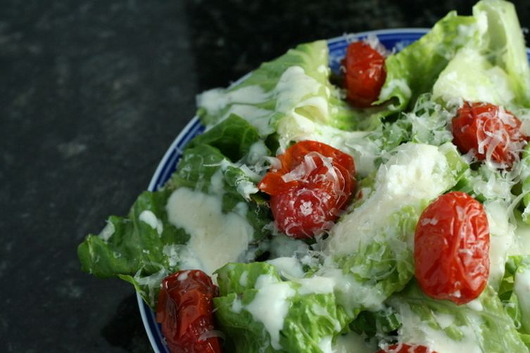 Goat Cheese Caesar Salad with Roasted Tomatoes and Parmesan Crisp ...