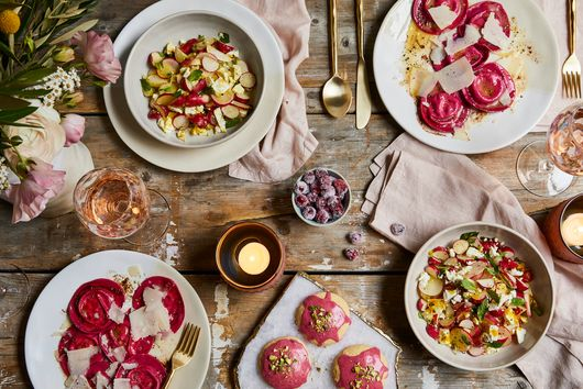 This Dreamy Spring Spread Stars Cheesy Beet Ravioli & Raspberry-Glazed Cookies
