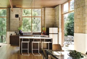 How Plywood, Cinder Blocks, and Sandblasted Glass Can Upgrade Your Kitchen