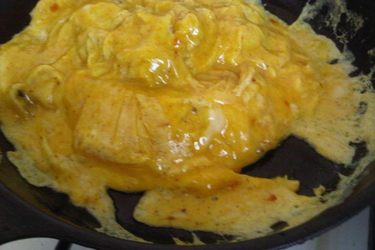 Beautiful and delicious scrambled eggs