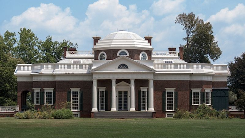 Jefferson's Monticello is a high-style example of the Early Classical Revival, though it still demonstrates the characteristic full-height entry porch, with four columns and a triangular pediment.