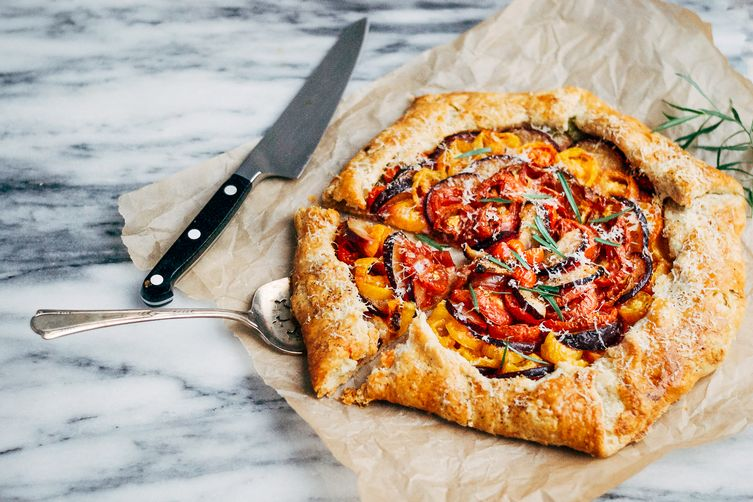 Tomato & Plum Galette with Black Pepper-Parmesan Crust