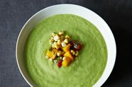 Chilled Cucumber and Avocado Soup with Mango Salsa