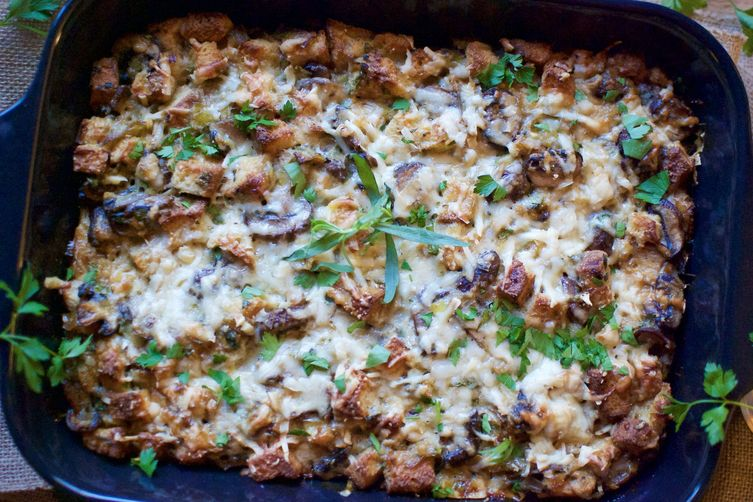 gluten-free mushroom & leek bread pudding