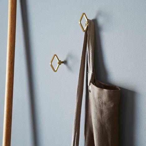 Diamond Shaped Brass Wall Hooks