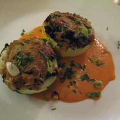 Stuffed Eight-Ball Squash with Roasted Red Pepper Sauce