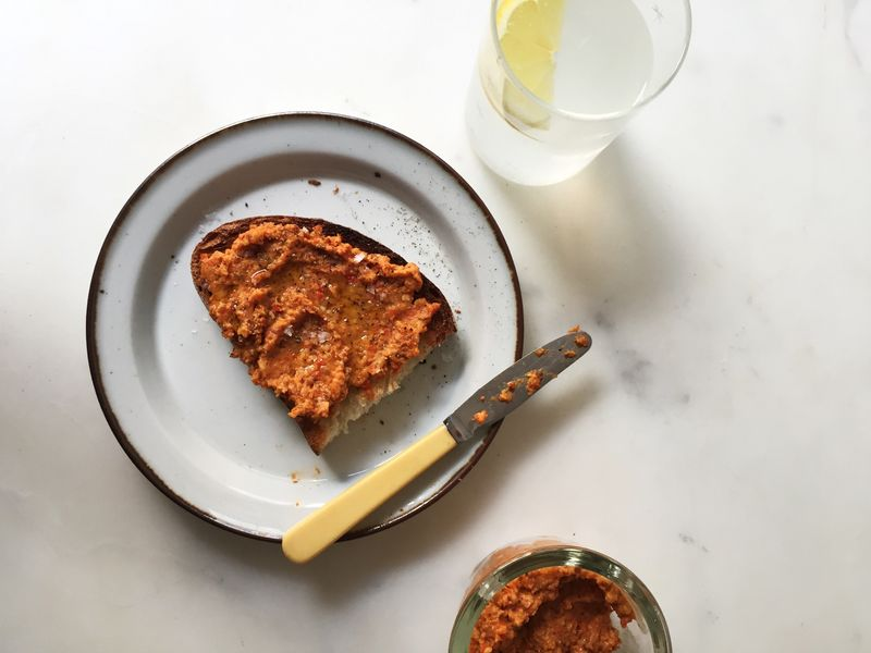 Pssst! There are pretzels in the romesco.