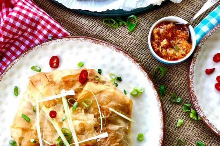 Giant potato and cauliflower filo samosa
