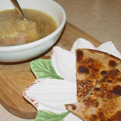 French Onion Soup with Turkish Cheese & Date Syrup Quesadillas