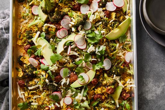 Sheet-Pan Broccoli & Chorizo Salad With Tortilla Chip Gremolata