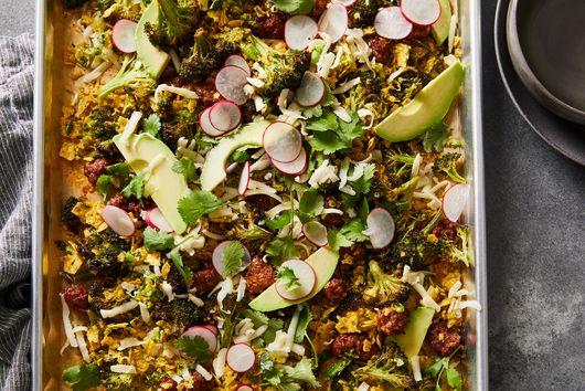 Sheet-Pan Broccoli & Chorizo Salad With Tortilla Chip Gremolata
