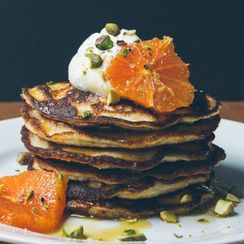 Gluten-Free Almond Pancakes with Honeyed Oranges and Pistachios
