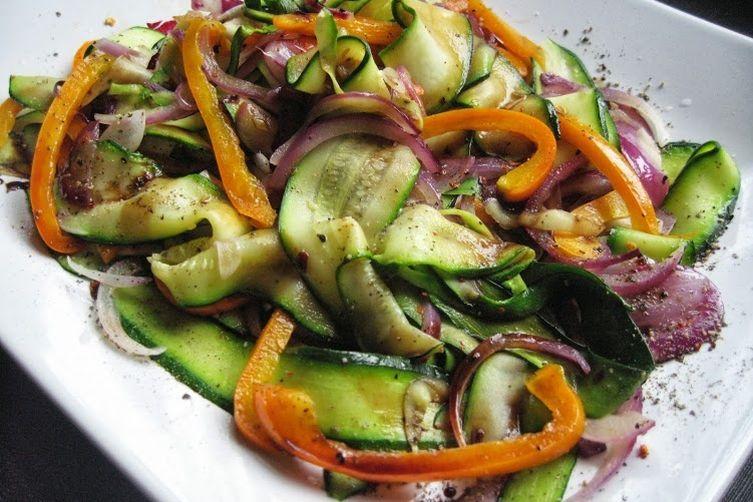 Mediterranean zucchini ribbon sauté with balsamic reduction