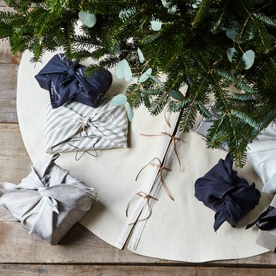 Canvas & Leather Tree Skirt with Personalization Option