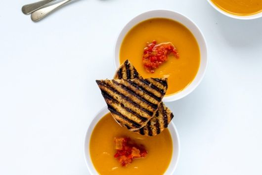 Pumpkin Soup with Roasted Pepper Salsa